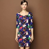 New Street Style Fashion Dresses For Women Three Quarter Vintage Party Dress Colorful Lotus Leaf Printed Design OL Casual Wear
