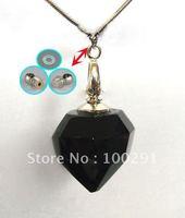 Free ship Gary's black crystal lazurite/azure stone rhinestone heart pendant necklace 2012, bulk!!!!!!!
