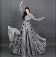 Vintage fashion women long sleeve dress floor length plus size brand patterns print blue dresses 2014 new arrival autumn winter