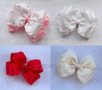 10pcs/lot  38MM Ruffled Satin Ribbon Double Layer Hair Bows  Ruffled boutique bows