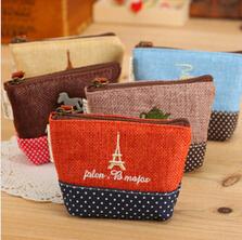 Free shipping Korea style precious Cotton&Jute time wooden horse tea pot Eiffel tower coin wallet storage bags(China (Mainland))