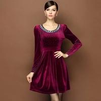 3 Color M L XL XXL XXXLPlus Size Gorgeous Korea Velvet Long Sleeve Diamonds Dress Autumn Minimalist Ladies OL Professional Dress