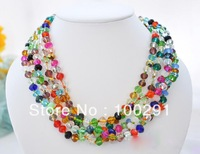 "5row 18""L 6mm multicolor round faceted crystal necklace  MOON 888"