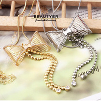 Boutique Bow Knot Pendant Long Necklaces For Women Gold Plated Rhinestone Sweater Necklace Fashion jewelry Beautyer BXL22