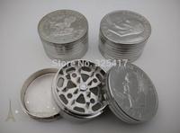 Free shipping 6pcs/lot (dia 5.2cm) U.S dollar 3-layer Metal herb grinder Silver Tobacco Grinder Machine manual Gift GR033