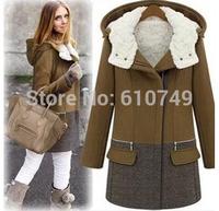 Free Shipping 2014 fashion thick plus size wool coat women fashion zipper cap winter wadded jacket outerwear female parkas