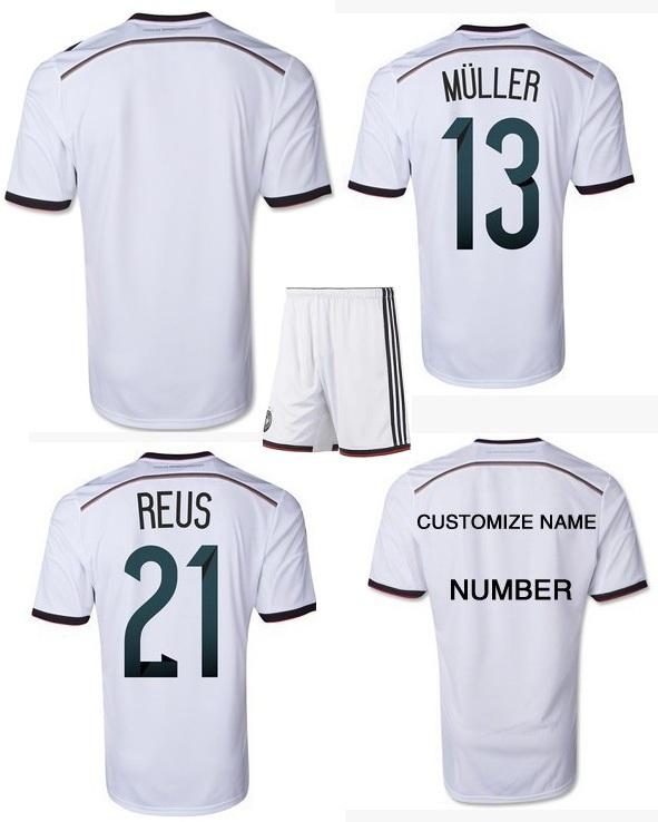 New Fashion Men's 4 Stars Germany Jersey Football Shirt Away Uniforms Set+Logos(China (Mainland))