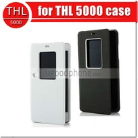 New arrival original thl 5000 leather flip case book style skin for thl 5000 Octa core mobile phone in stock free shipping