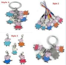 DHL 100sets 1set=5pcs Peppa Pig Key Chains Metal Figures Pendants Peppa pig family and Rebecca Rabbit Keychains(China (Mainland))