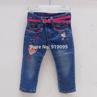 6pcs/lot (6M-3T) Wholesale Girls Jeans Trousers Baby Girls Brand PU Belt Baby Embroidery Slim Pants Leggings Free Ship