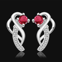 2014 New Arrival!Fashion women jewelry,925 sterling silver red crystal earrings,wholesale jewelry E502