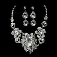Free Shipping High Quality Silver Plated Luxury Huge Crystal Wedding Jewelry Sets,Necklace&Earrings
