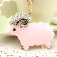 Christmas Gift Full Rhinestone Crystal Cute Sheep  Keychain Alloy Keyring handBag Charm Real Gold Plated ,Nickel free