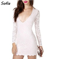 european sexy deep V neck wave lace dress women fashion long sleeve lace vestidos casual mini party dresses vestido SD2449