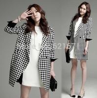 2014 Autumn New Women Elegant Vintage Fashion Houndstooth Print Long Sleeve Loose Long Blazer Trench Coat Plus Size XL/2XL/3XL