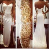 2015 New Arrival Sexy Evening Sweetheart Chiffon White Mermaid Prom Dress Long Floor length Gold Crystal Beaded Side Split SH215