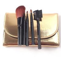 Fashion 5 pcs blonde professional Makeup Brush set Cosmetic Brushes kit & case for beginner pincel maquillaje trucco maquiagem