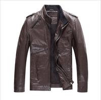HJAD3K095 2014 Men's PU Leather Jacket Fashion Transverse Slim Fit Leather Jackets For Men Top Quality For Men Plus Size M-XXXL