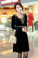 Flower 2014 Autumn Winter New Noble Party Dresses Black Gold Velour Dress for large Women