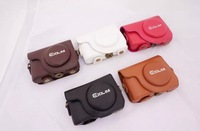 High quality Camera Bag for Casio ZR1500 ZR1000 ZR1200 Camera With Single Shoulder Belt PU Case 1pc/lot Free Shipping