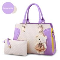 2 Pcs Set Women Handbags Fashion Patchwork Women Tote Shoulder Bag Casual Women Messenger Bags With Bear Decoration HB-190