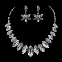 New Sweet Leaf  Clear Crystal Imitated Gemstone Bridal Wedding Jewelry Sets Choker Necklace Earrings for Party Gift