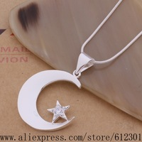925 sterling silver Necklace 925 silver fashion jewelry pendant Moon /fhkanyra brlakisa P352