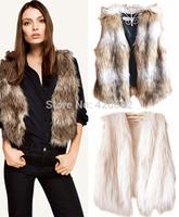 New Arrival Women's Winter Faux Fur Sleeveless Vest Jacket Coat Short Colete Pele Female Fur Vests Coletes Femininos De Pele
