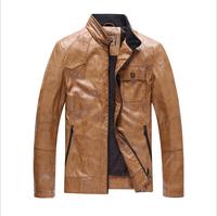 HJAD3K096 Men's PU Leather Jacket Fashion Transverse Slim 3D Fit Leather Jackets For Men Top Quality For Men Plus Size M-XXXL