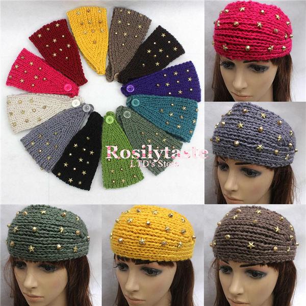 Fashion Hot Fix Five-Star Design 12 Color Women Crochet Headwraps Winter Knit Knitted Headband Ear Warmer Girls Hair Band(China (Mainland))