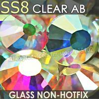 SS8 2.3-2.4mm Clear AB Non HotFix Nail Art Rhinestones 1440pcs/bag DIY DMC FlatBack for DIY nails crystals strass glitters stone