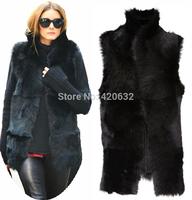 Women Faux Fox Fur Vest Winter Long Vest Sleeveless Luxury Fur Coat Casacos Femininos 3XL Fur Vest Jacket Colete De Pele Falso