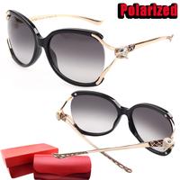 High quality Plate Pierced Sapphire Leopard head Big frame Polarized Sunglasses women brand designer Sun glasses Original box