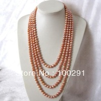 "Free shipping !!!22-28"" 7-8mm 4 Row Peach Pink Freshwater Pearl Necklace(FreeShipping!!!)"
