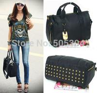 2014 all-match fashion vintage rivet Women Handbag Women Messenger Bags Tote Leather handbags Solid Color Zipper Shoulder Bag