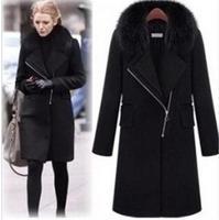 Gossip Girl Super Temperament New Winter Fashion Fur Collar Long Sections Overcoats Zipper Woolen Coats Plus Size XL-5XL140