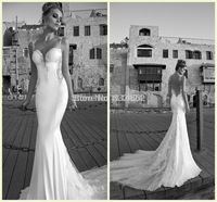 Vestido De Festa Longo 2014 Backless Beach Wedding Dresses Floor Length Sleeveless Lace Tulle Dress Custom Made Gown_bridalk