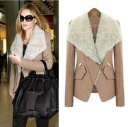 2014 winter new fashion wool coat lapel Slim cashmere Fur collar coat jacket high quality free shipping 257