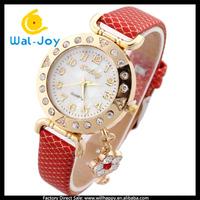 latest smart special design stylish fancy girls leather diamonds watch(WJ-2418)