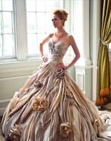 Vestidos Sweetheart Flowers Long Taffeta Champagne Wedding Dresses Ball Gowns 2014