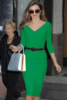 2014Autumn Winter Star Style Victoria Beckham Dress Slim Elegant V-Neck 3/4 Sleeve Belted Pencil Dress Knee Length Cocktail 6711