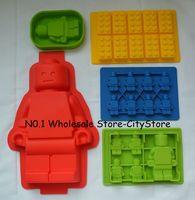 5x Silicone Lego Brick & Minifigure Man Robot Ice Trays Ice Mold Chocolate Molds Baking Pan Fondant YBGR