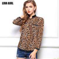 2014 New Fashion Chiffon Blouse wholesale star pattern leopard shirt Blouse Women long sleeve shirt, chiffon Blouse
