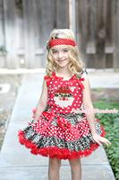 XMAS Red White Dot Top Leopard Santa Claus Print Leopard Minnie Dot Girl Skirt Set 1-8Y MAMG1236