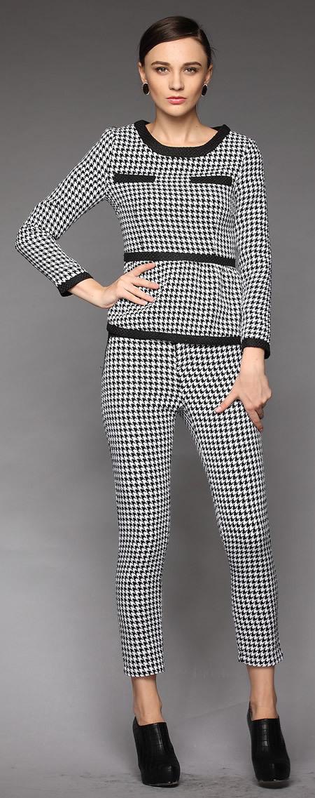 Мода женская ласточка препояшь печать с длинным рукавом шерсть брючный костюм W1683