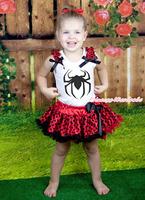 Black Spider Print Red Ruffle Black Bow White Top Baby Girl Red Black Dot Pettiskirt NB-8Year MAMG1235