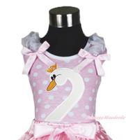 Swan Head Print Gray Ruffle Pink Bow Pink White Dot Top MAT673