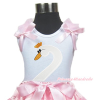 Swan Head Print Pink Ruffle Pink Bow Pink White Dot Top MAT675