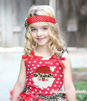Leopard Santa Claus Print Leopard Ruffle Red Bow Pink Red White Dot Top MAT679