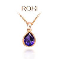 ROXI nice rose-gold plat purple heart necklace,high-end fashion jewelry for women,Christmas gift,factory price,newest